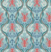 Lewis & Irene Harbour Side - 4943 - Lobsters & Anchors on Aqua  - A179.2 - Cotton Fabric